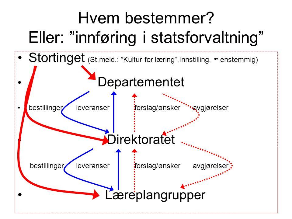 """Hvem bestemmer? Eller: """"innføring i statsforvaltning"""" •Stortinget (St.meld.: """"Kultur for læring"""",Innstilling, ≈ enstemmig) • Departementet •bestilling"""