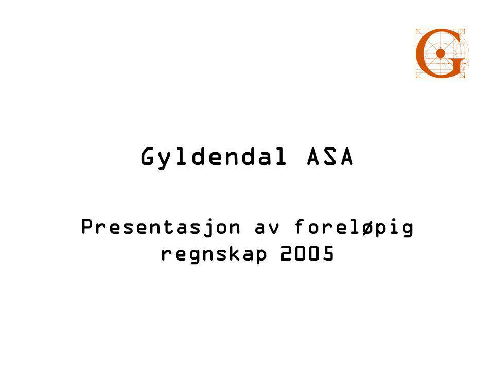 Dette sa vi for et år siden om utsiktene for 2005 • Det hersker usikkerhet med tanke på utviklingen av bokmarkedet i 2005. • Gyldendal forventer en nedgang i resultatet i 2005 på grunn av store investeringer i skolereformen.