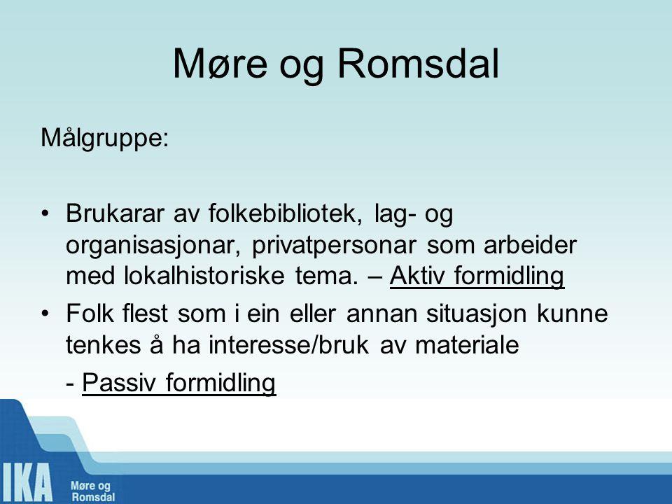 Møre og Romsdal Målgruppe: •Brukarar av folkebibliotek, lag- og organisasjonar, privatpersonar som arbeider med lokalhistoriske tema.