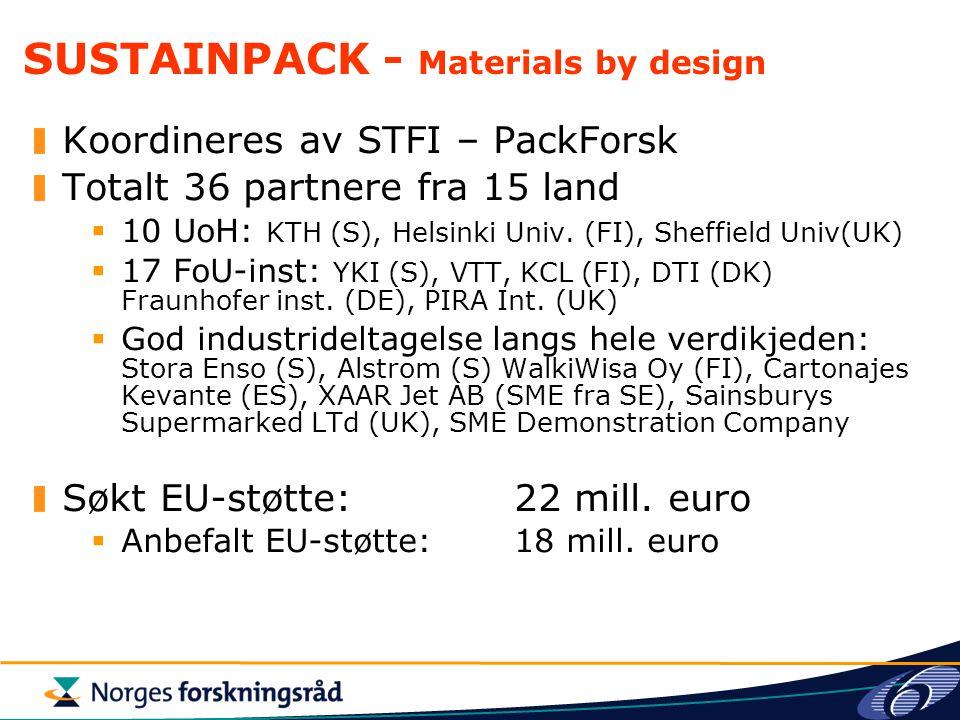 SUSTAINPACK - Materials by design Koordineres av STFI – PackForsk Totalt 36 partnere fra 15 land  10 UoH: KTH (S), Helsinki Univ. (FI), Sheffield Uni