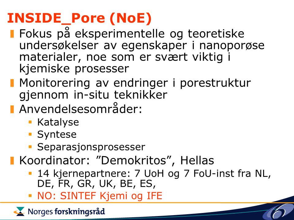 INSIDE_Pore (NoE) Fokus på eksperimentelle og teoretiske undersøkelser av egenskaper i nanoporøse materialer, noe som er svært viktig i kjemiske prose