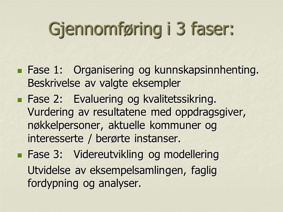 Gjennomføring i 3 faser:  Fase 1:Organisering og kunnskapsinnhenting.