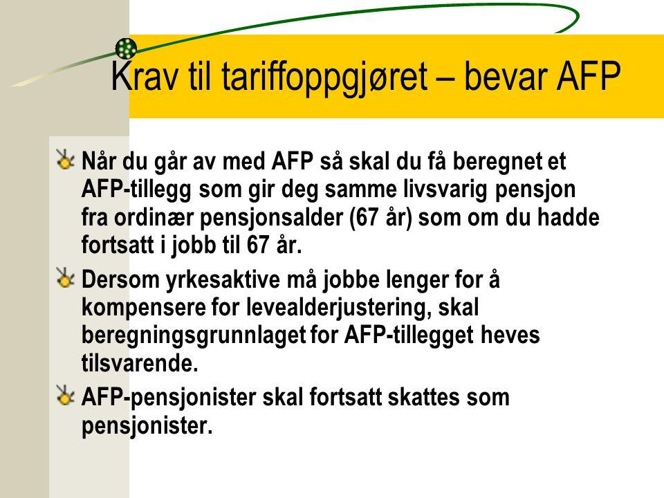 Krav til tariffoppgjøret – bevar AFP Når du går av med AFP så skal du få beregnet et AFP-tillegg som gir deg samme livsvarig pensjon fra ordinær pensj