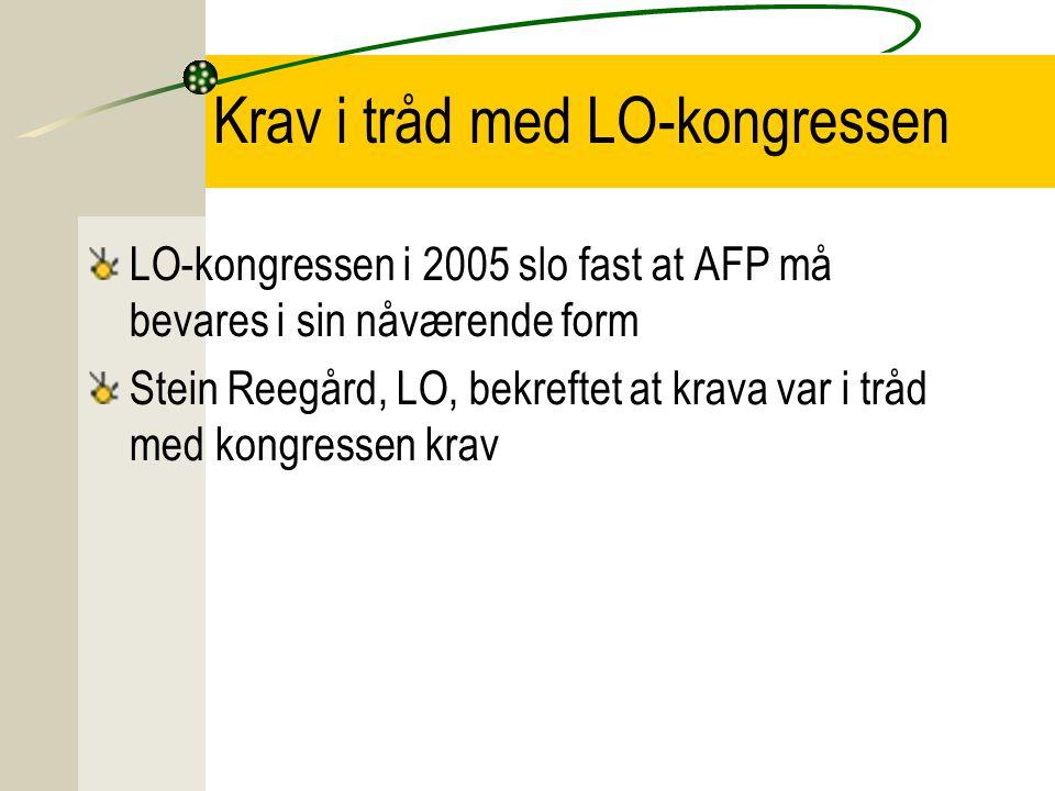 Krav i tråd med LO-kongressen LO-kongressen i 2005 slo fast at AFP må bevares i sin nåværende form Stein Reegård, LO, bekreftet at krava var i tråd med kongressen krav