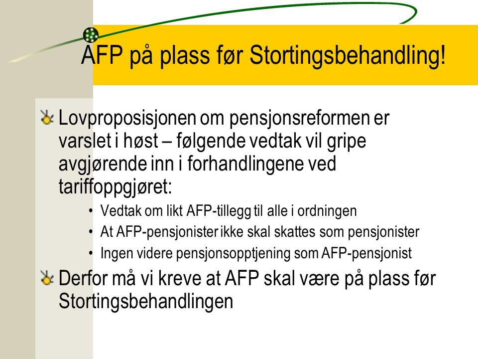 AFP på plass før Stortingsbehandling.