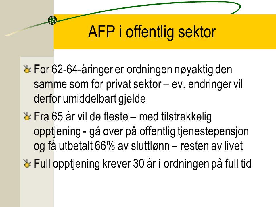 AFP i offentlig sektor For 62-64-åringer er ordningen nøyaktig den samme som for privat sektor – ev. endringer vil derfor umiddelbart gjelde Fra 65 år