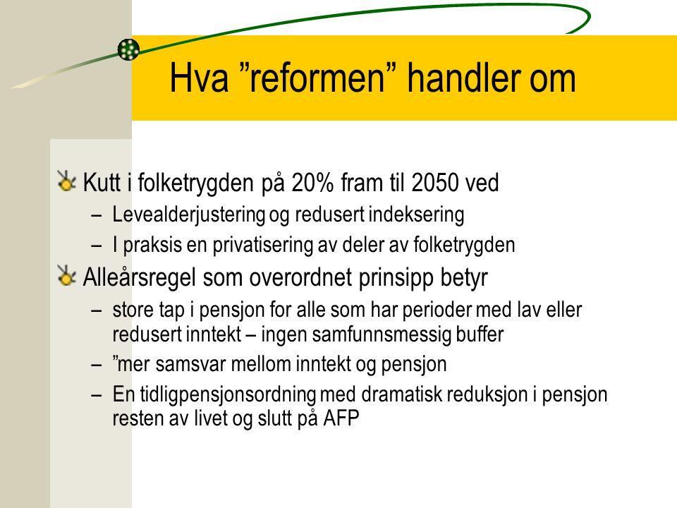 """Hva """"reformen"""" handler om Kutt i folketrygden på 20% fram til 2050 ved –Levealderjustering og redusert indeksering –I praksis en privatisering av dele"""