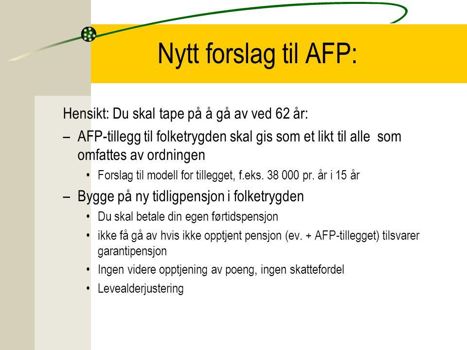 Nytt forslag til AFP: Hensikt: Du skal tape på å gå av ved 62 år: –AFP-tillegg til folketrygden skal gis som et likt til alle som omfattes av ordninge