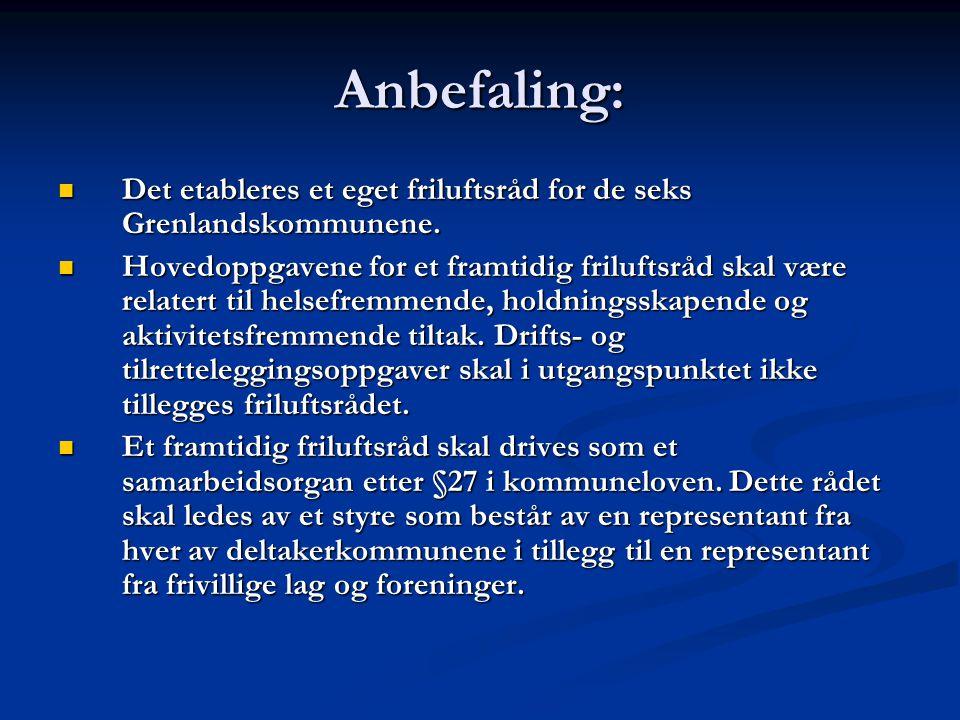 Anbefaling:  Det etableres et eget friluftsråd for de seks Grenlandskommunene.