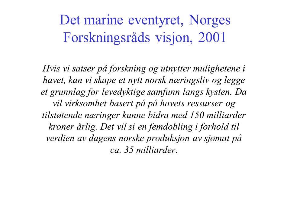 Det marine eventyret, Norges Forskningsråds visjon, 2001 Hvis vi satser på forskning og utnytter mulighetene i havet, kan vi skape et nytt norsk næringsliv og legge et grunnlag for levedyktige samfunn langs kysten.