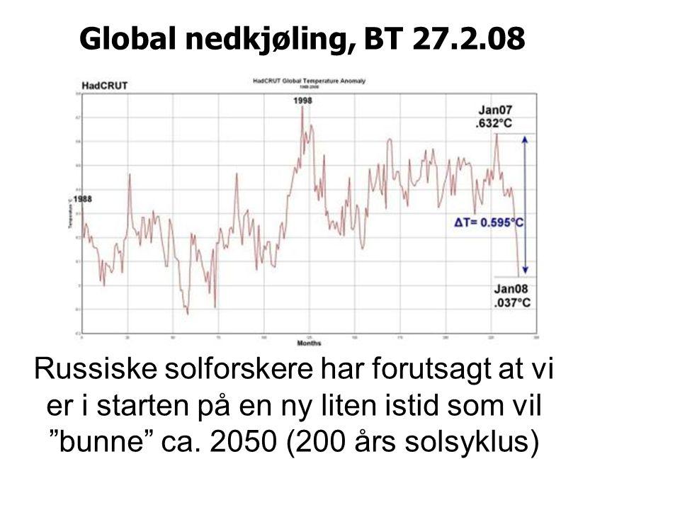 Global nedkjøling, BT 27.2.08 Russiske solforskere har forutsagt at vi er i starten på en ny liten istid som vil bunne ca.