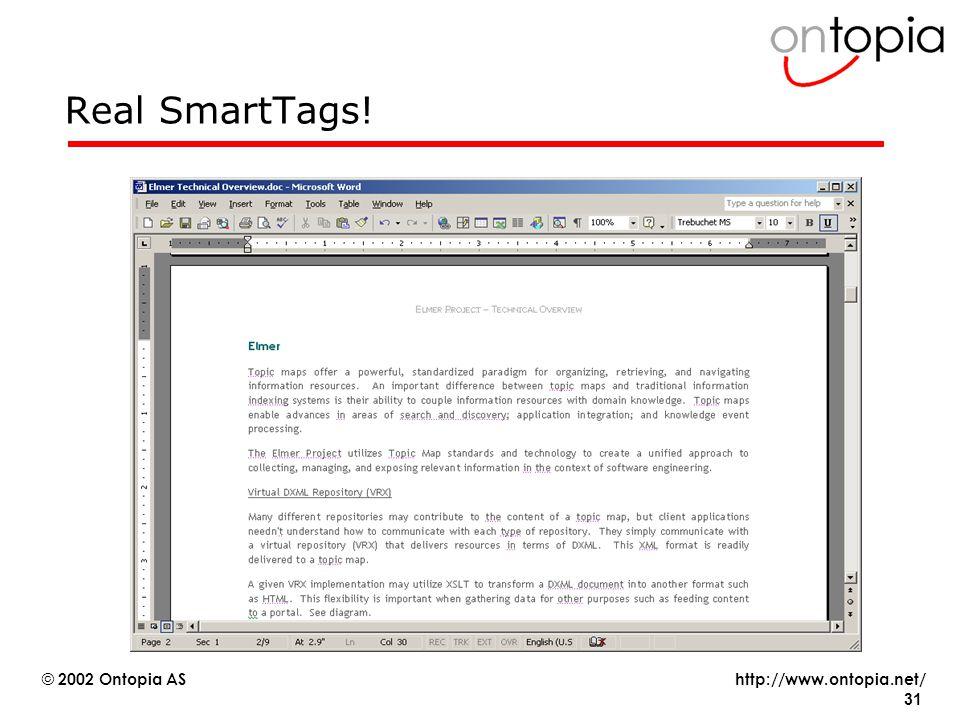 http://www.ontopia.net/ © 2002 Ontopia AS 31 Real SmartTags!