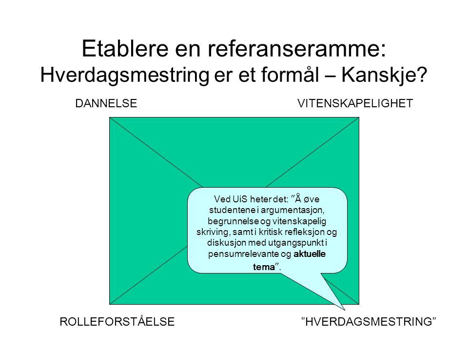 Etablere en referanseramme: Hverdagsmestring er et formål – Kanskje.