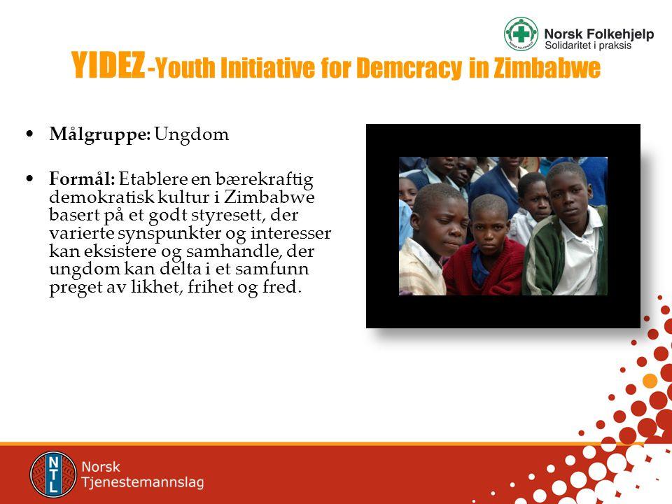 YIDEZ -Youth Initiative for Demcracy in Zimbabwe •Målgruppe: Ungdom •Formål: Etablere en bærekraftig demokratisk kultur i Zimbabwe basert på et godt styresett, der varierte synspunkter og interesser kan eksistere og samhandle, der ungdom kan delta i et samfunn preget av likhet, frihet og fred.