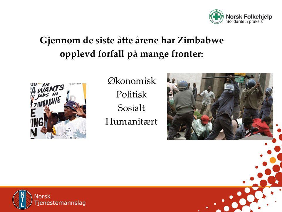 Gjennom de siste åtte årene har Zimbabwe opplevd forfall på mange fronter: Økonomisk Politisk Sosialt Humanitært