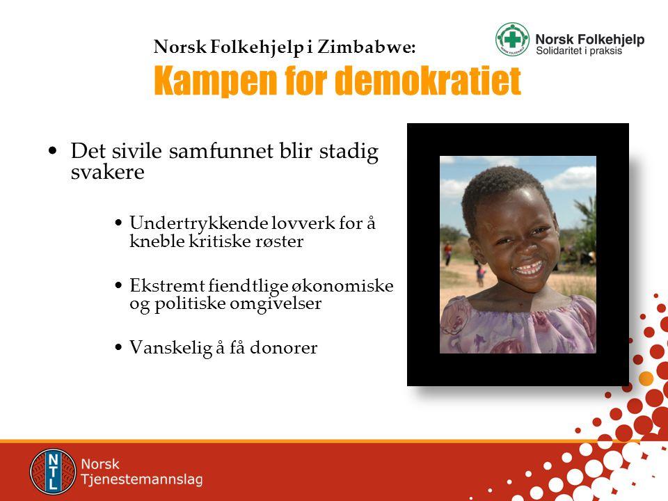 •Det sivile samfunnet blir stadig svakere •Undertrykkende lovverk for å kneble kritiske røster •Ekstremt fiendtlige økonomiske og politiske omgivelser •Vanskelig å få donorer Norsk Folkehjelp i Zimbabwe: Kampen for demokratiet