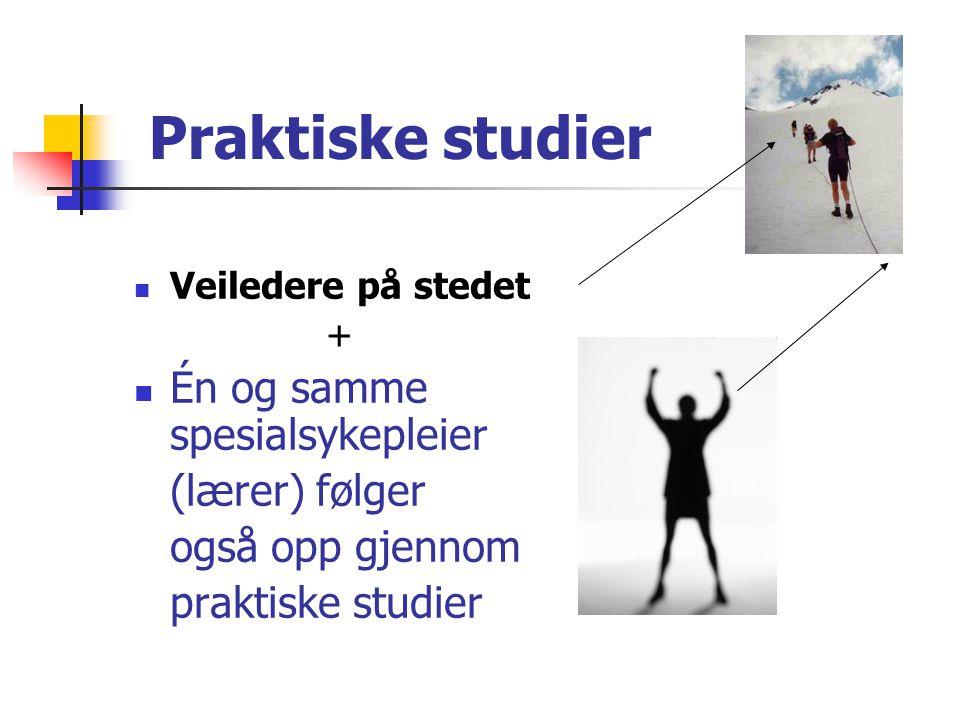 Praktiske studier  Veiledere på stedet +  Én og samme spesialsykepleier (lærer) følger også opp gjennom praktiske studier