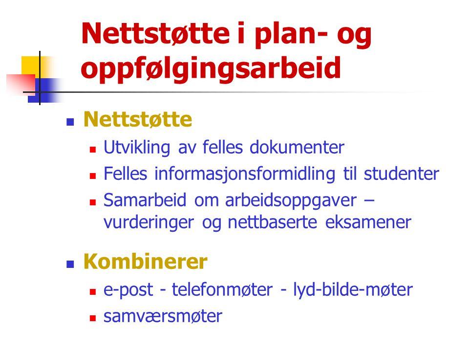 Nettstøtte i plan- og oppfølgingsarbeid  Nettstøtte  Utvikling av felles dokumenter  Felles informasjonsformidling til studenter  Samarbeid om arb