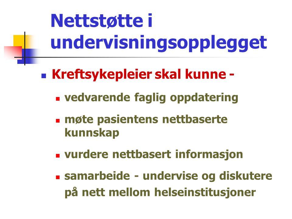 Nettstøtte i undervisningsopplegget  ClassFronter  Plandokumenter  Lenker; - eks.