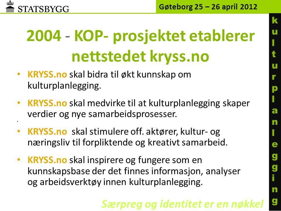 2004 - KOP- prosjektet etablerer nettstedet kryss.no • KRYSS.no skal bidra til økt kunnskap om kulturplanlegging. • KRYSS.no skal medvirke til at kult