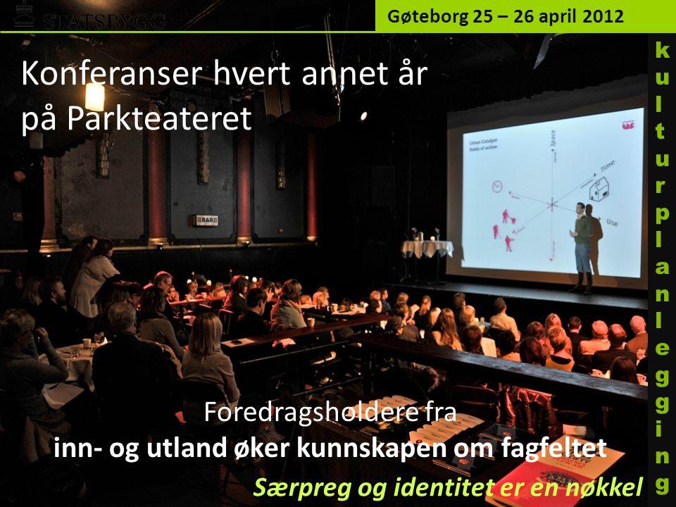 Foredragsholdere fra inn- og utland øker kunnskapen om fagfeltet Gøteborg 25 – 26 april 2012 kulturplanleggingkulturplanlegging Konferanser hvert annet år på Parkteateret Særpreg og identitet er en nøkkel