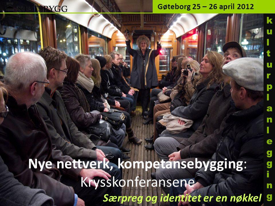Nye nettverk, kompetansebygging: Krysskonferansene Gøteborg 25 – 26 april 2012 kulturplanleggingkulturplanlegging Særpreg og identitet er en nøkkel