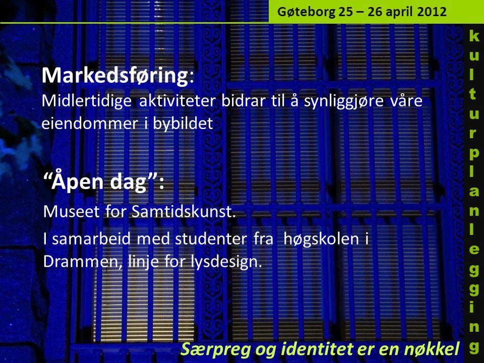 Markedsføring: Midlertidige aktiviteter bidrar til å synliggjøre våre eiendommer i bybildet Åpen dag : Museet for Samtidskunst.