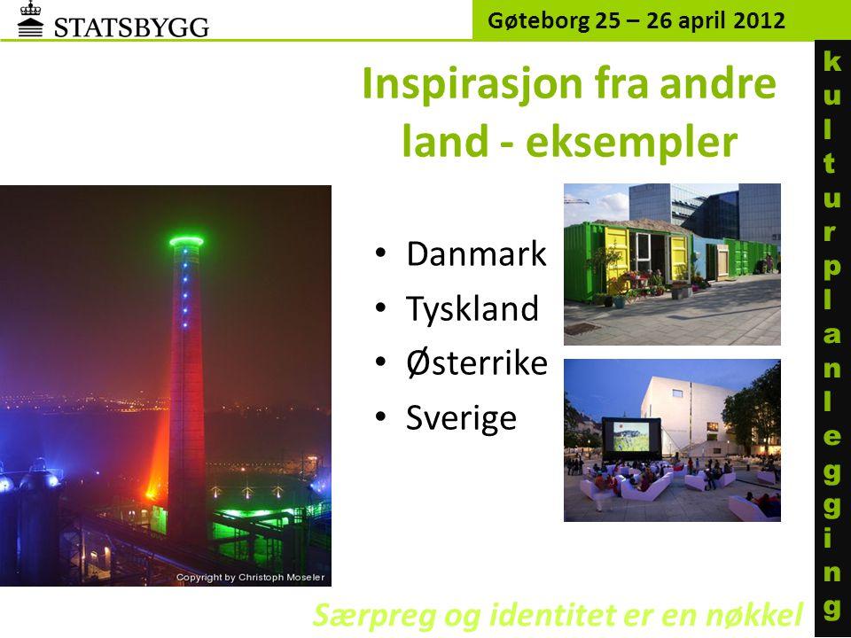 Inspirasjon fra andre land - eksempler • Danmark • Tyskland • Østerrike • Sverige Gøteborg 25 – 26 april 2012 Særpreg og identitet er en nøkkel kultur