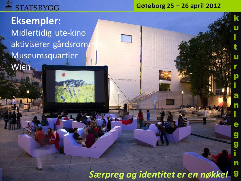 Eksempler: Midlertidig ute-kino aktiviserer gårdsrommet. Museumsquartier Wien Gøteborg 25 – 26 april 2012 Særpreg og identitet er en nøkkel kulturplan