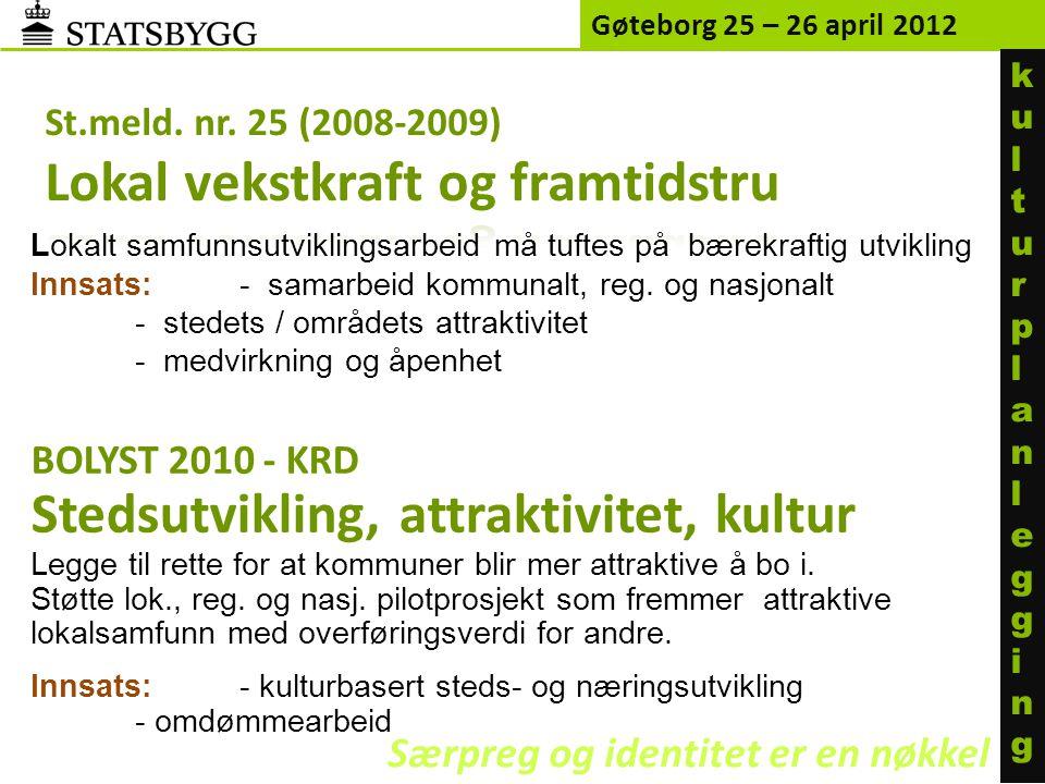 Gøteborg 25 – 26 april 2012 Eiendommer utenfor husleieordningen kulturplanleggingkulturplanlegging Særpreg og identitet er en nøkkel