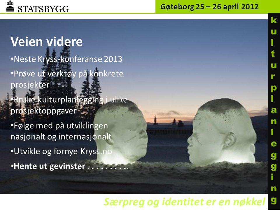 Gøteborg 25 – 26 april 2012 Særpreg og identitet er en nøkkel kulturplanleggingkulturplanlegging Veien videre • Neste Kryss-konferanse 2013 • Prøve ut