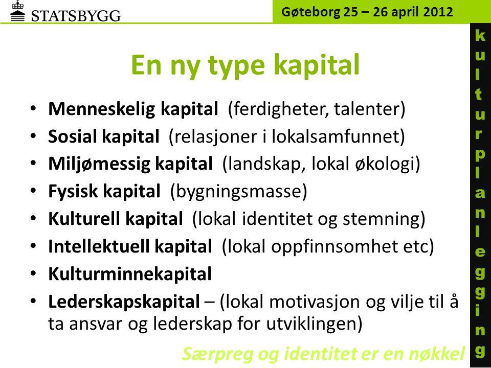 En ny type kapital • Menneskelig kapital (ferdigheter, talenter) • Sosial kapital (relasjoner i lokalsamfunnet) • Miljømessig kapital (landskap, lokal