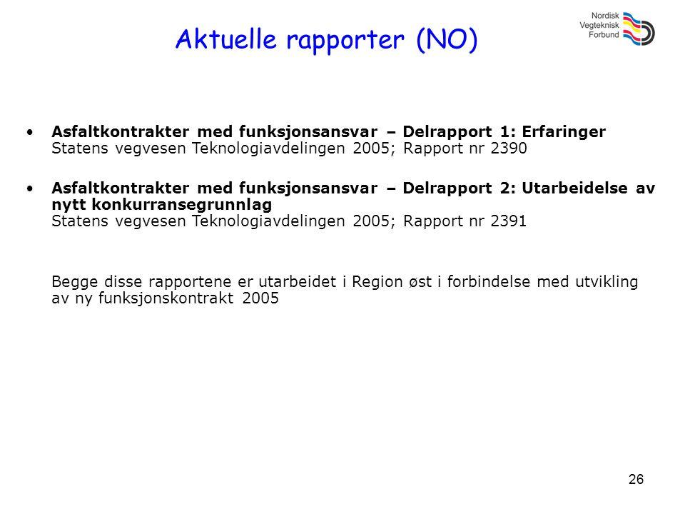 26 Aktuelle rapporter (NO) •Asfaltkontrakter med funksjonsansvar – Delrapport 1: Erfaringer Statens vegvesen Teknologiavdelingen 2005; Rapport nr 2390