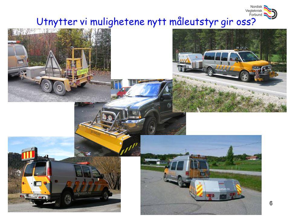 17 System for måling (forts) Krav til asfaltmaterialetDKSEFINOIS Slitasje/nötning (Prall) 1/20000 m 2 Ny beläggning (måle spor) Deformasjon (dyn kryp) 1/40000 m 2 Ny beläggning Stivhet, lastfordeling (dyn E-modul) 1/40000 m 2 Vannfølsomhet, bestandighet (ITSR) 1/8000 tonn Fryse/tö i salt vatten (EN 1367-1)