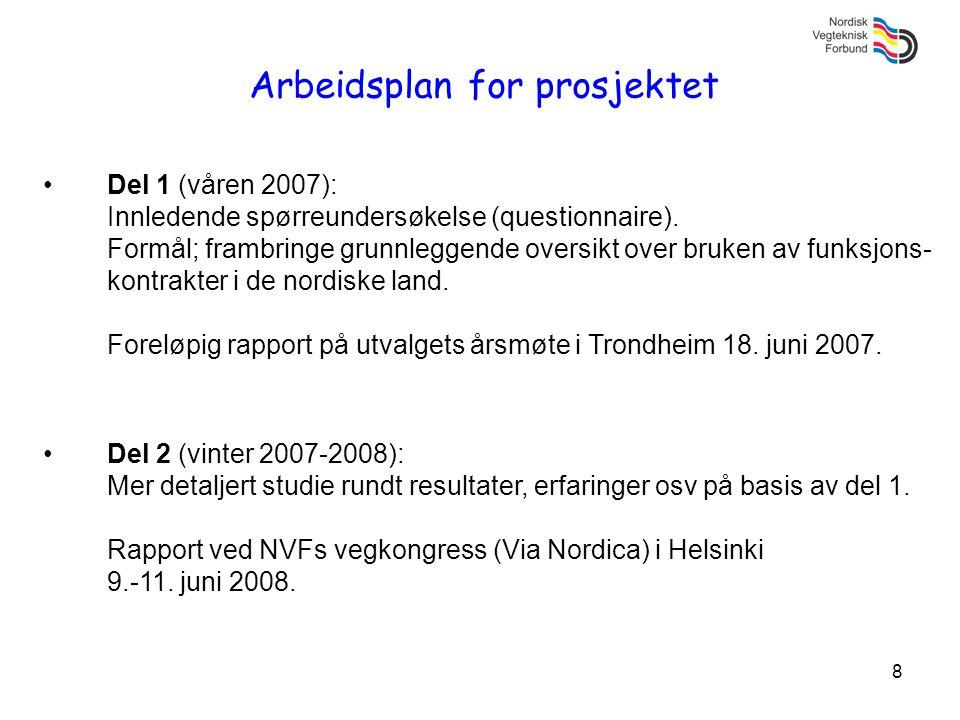 8 Arbeidsplan for prosjektet •Del 1 (våren 2007): Innledende spørreundersøkelse (questionnaire). Formål; frambringe grunnleggende oversikt over bruken