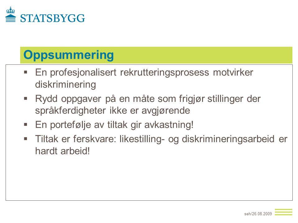 Oppsummering  En profesjonalisert rekrutteringsprosess motvirker diskriminering  Rydd oppgaver på en måte som frigjør stillinger der språkferdighete