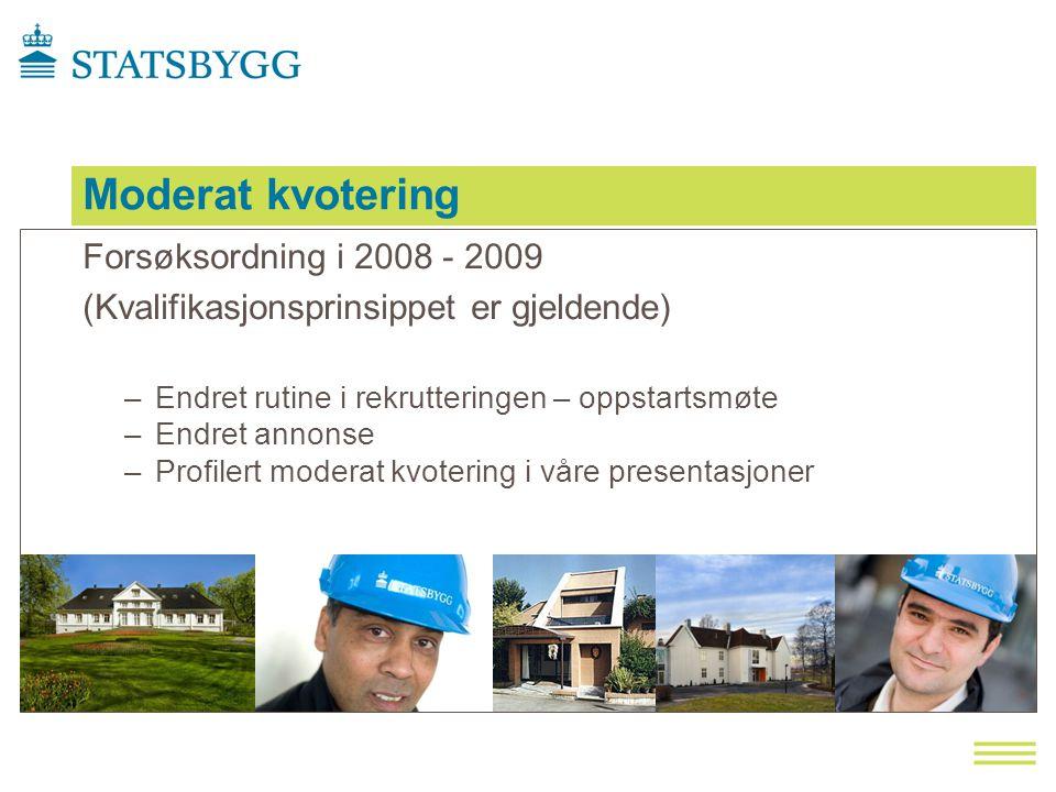 Moderat kvotering Forsøksordning i 2008 - 2009 (Kvalifikasjonsprinsippet er gjeldende) –Endret rutine i rekrutteringen – oppstartsmøte –Endret annonse