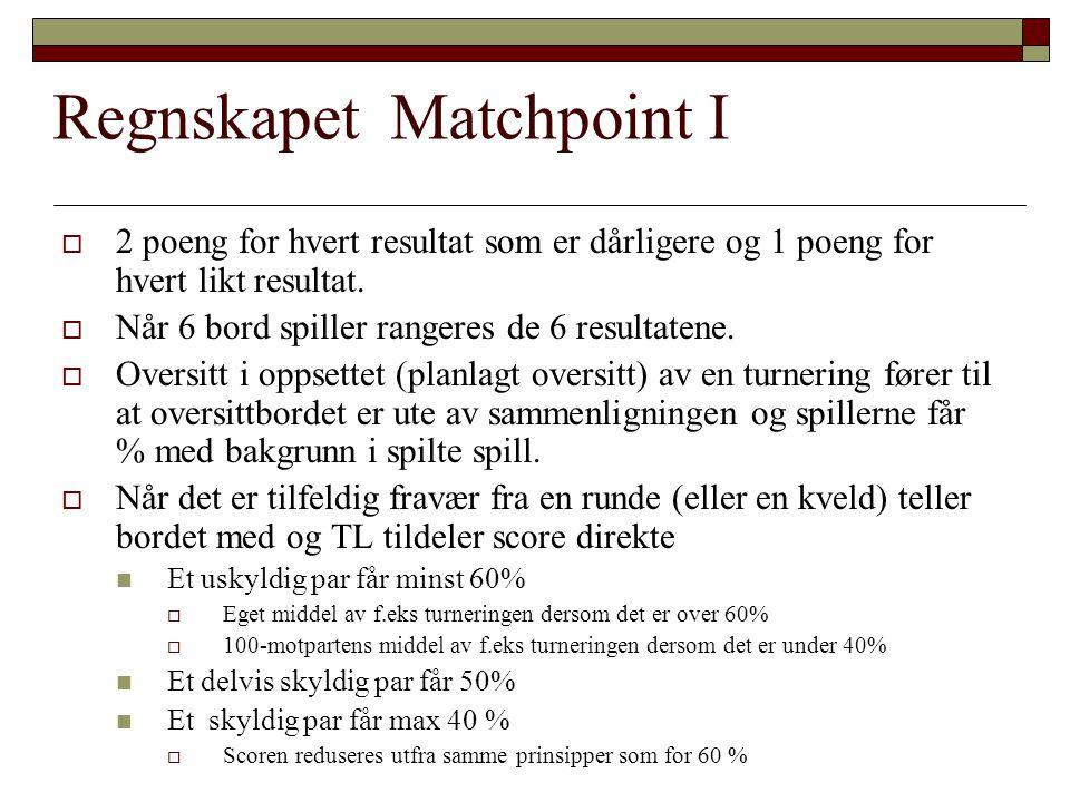Regnskapet Matchpoint I  2 poeng for hvert resultat som er dårligere og 1 poeng for hvert likt resultat.  Når 6 bord spiller rangeres de 6 resultate