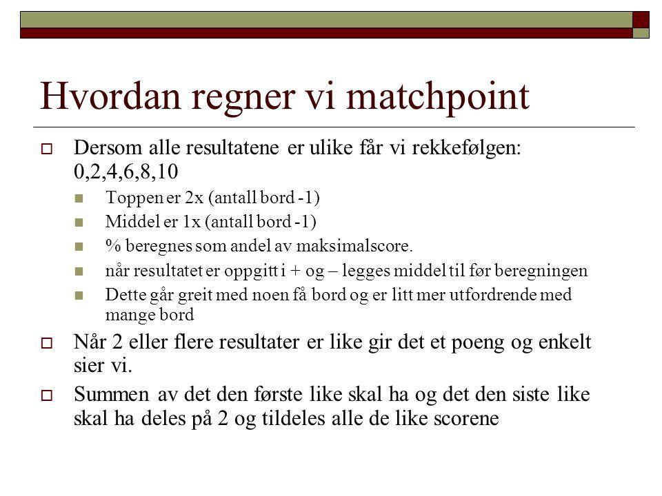 Hvordan regner vi matchpoint  Dersom alle resultatene er ulike får vi rekkefølgen: 0,2,4,6,8,10  Toppen er 2x (antall bord -1)  Middel er 1x (antal