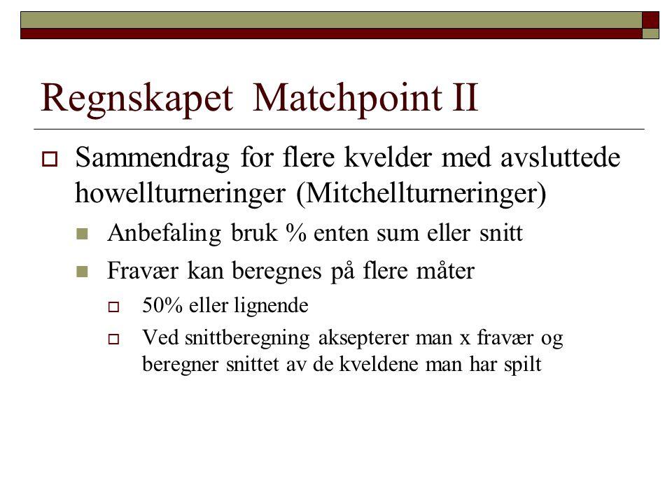 Regnskapet Matchpoint II  Sammendrag for flere kvelder med avsluttede howellturneringer (Mitchellturneringer)  Anbefaling bruk % enten sum eller sni
