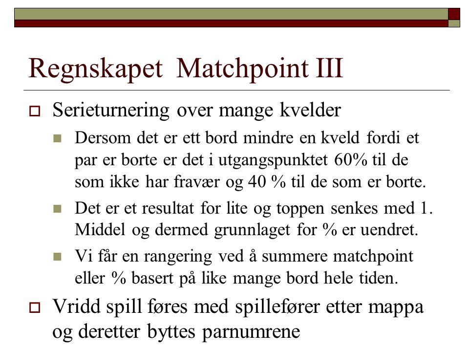 Regnskapet Matchpoint III  Serieturnering over mange kvelder  Dersom det er ett bord mindre en kveld fordi et par er borte er det i utgangspunktet 6