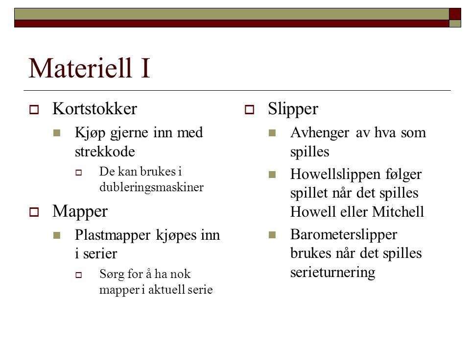 Materiell I  Kortstokker  Kjøp gjerne inn med strekkode  De kan brukes i dubleringsmaskiner  Mapper  Plastmapper kjøpes inn i serier  Sørg for å