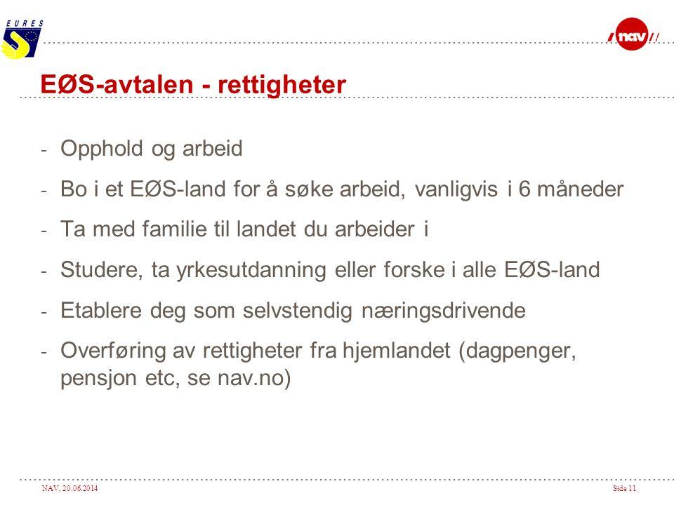 NAV, 20.06.2014Side 11 EØS-avtalen - rettigheter - Opphold og arbeid - Bo i et EØS-land for å søke arbeid, vanligvis i 6 måneder - Ta med familie til