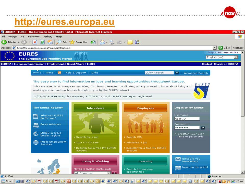 NAV, 20.06.2014Side 5 http://eures.europa.eu