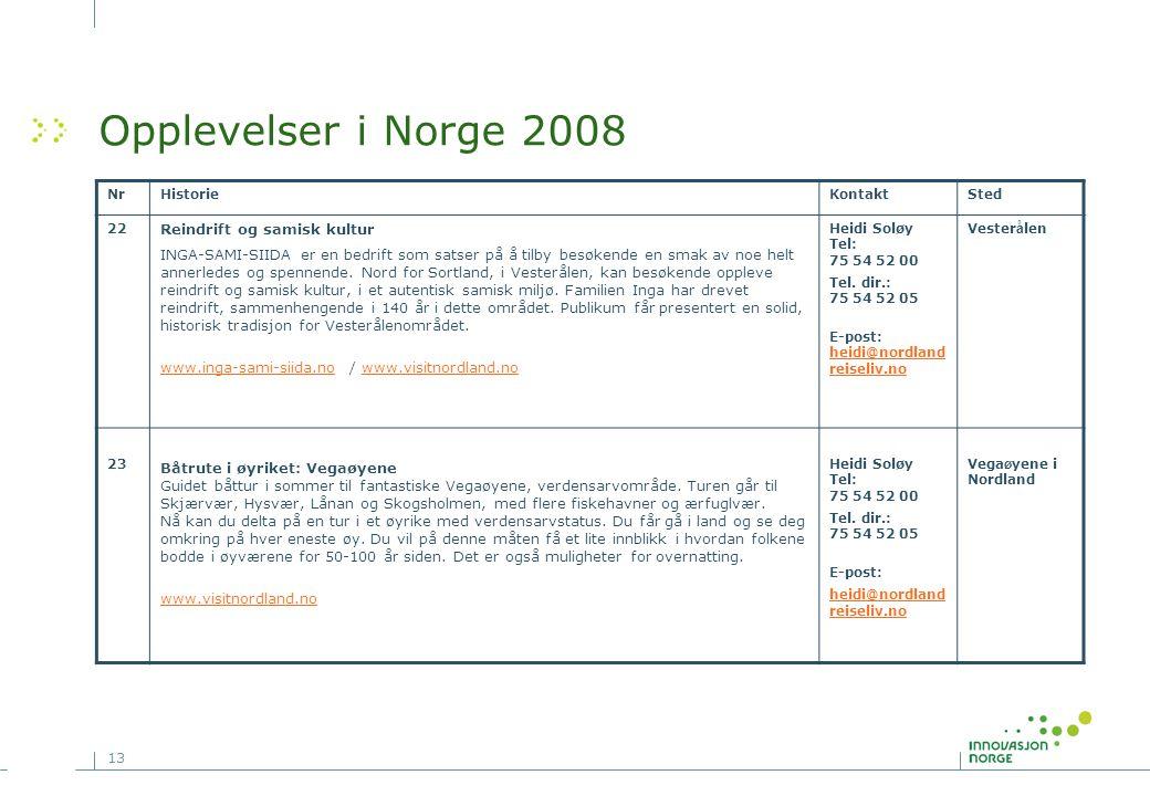 13 Opplevelser i Norge 2008 NrHistorieKontaktSted 22 Reindrift og samisk kultur INGA-SAMI-SIIDA er en bedrift som satser på å tilby besøkende en smak