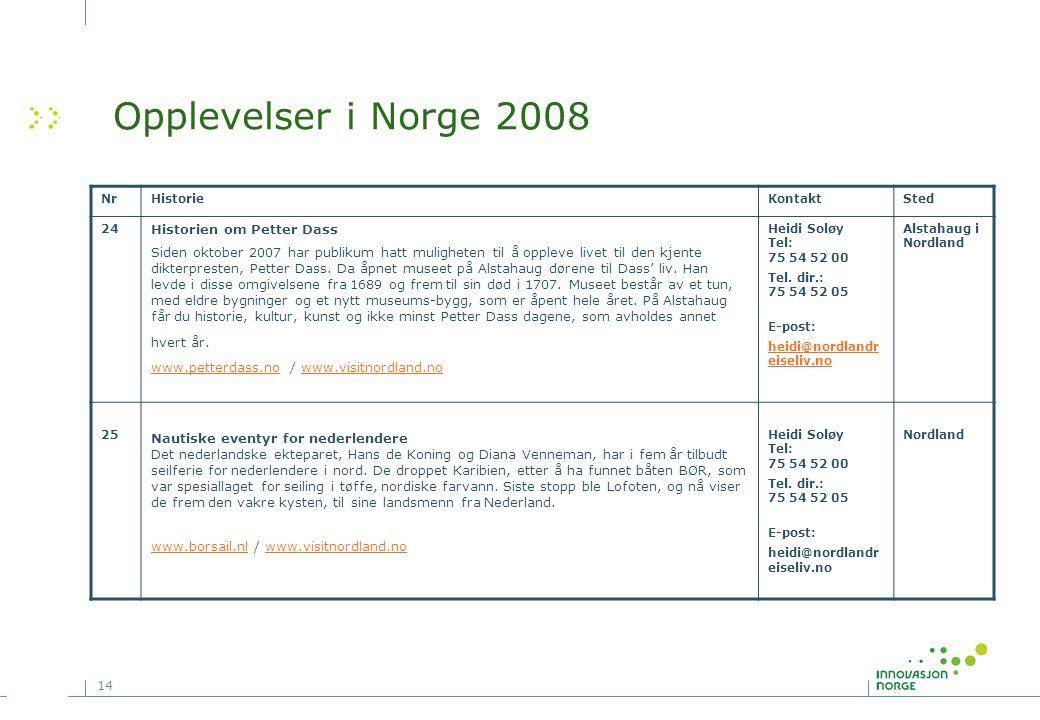 14 NrHistorieKontaktSted 24 Historien om Petter Dass Siden oktober 2007 har publikum hatt muligheten til å oppleve livet til den kjente dikterpresten,