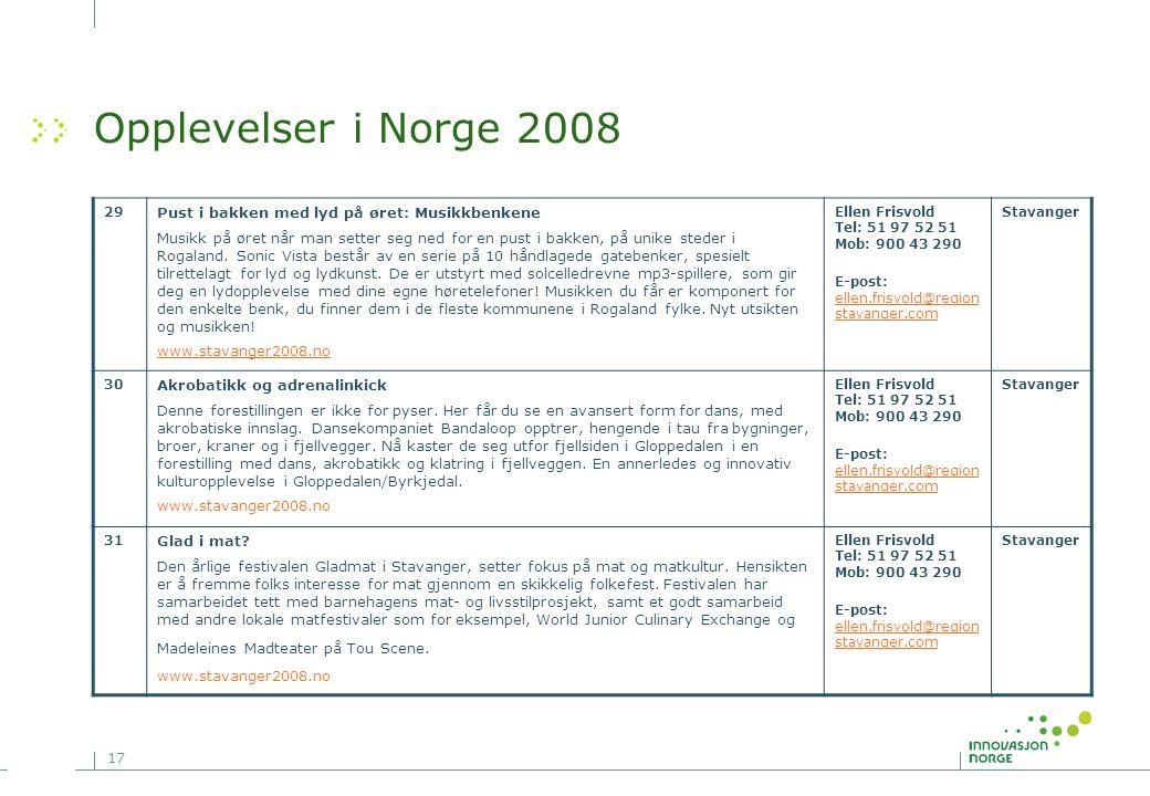 17 Opplevelser i Norge 2008 29 Pust i bakken med lyd på øret: Musikkbenkene Musikk på øret når man setter seg ned for en pust i bakken, på unike stede