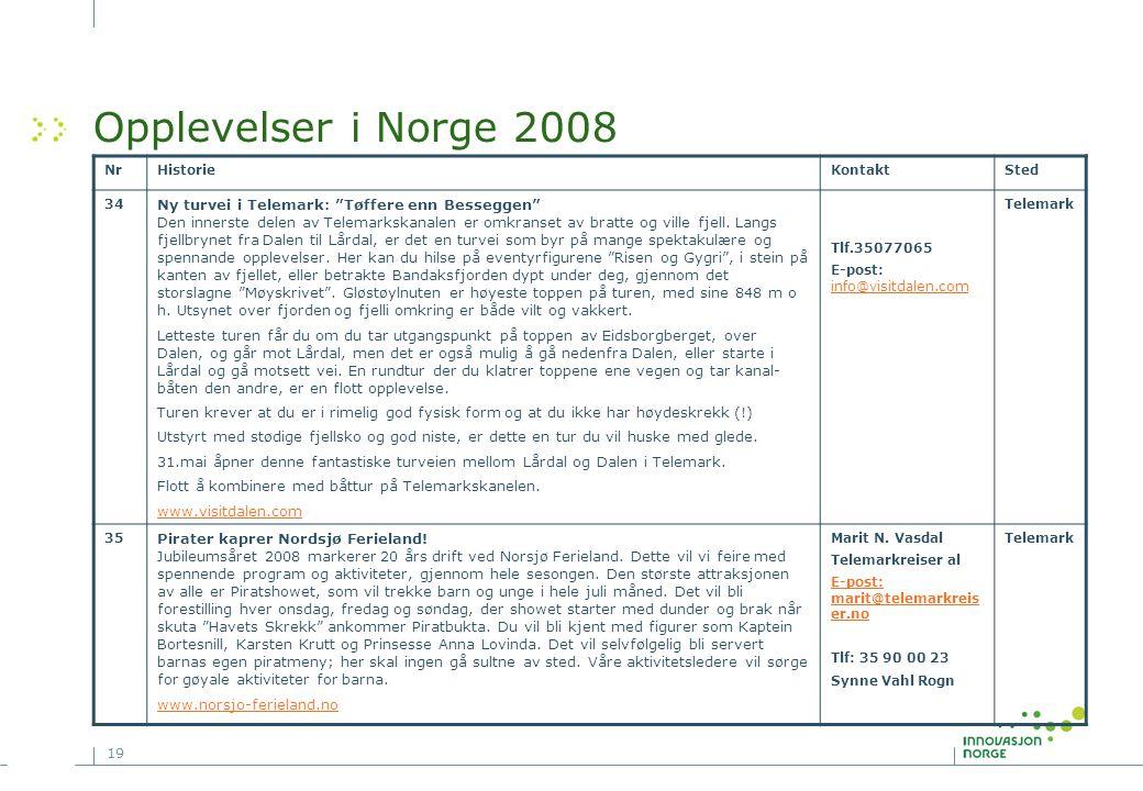 """19 Opplevelser i Norge 2008 NrHistorieKontaktSted 34 Ny turvei i Telemark: """"Tøffere enn Besseggen"""" Den innerste delen av Telemarkskanalen er omkranset"""