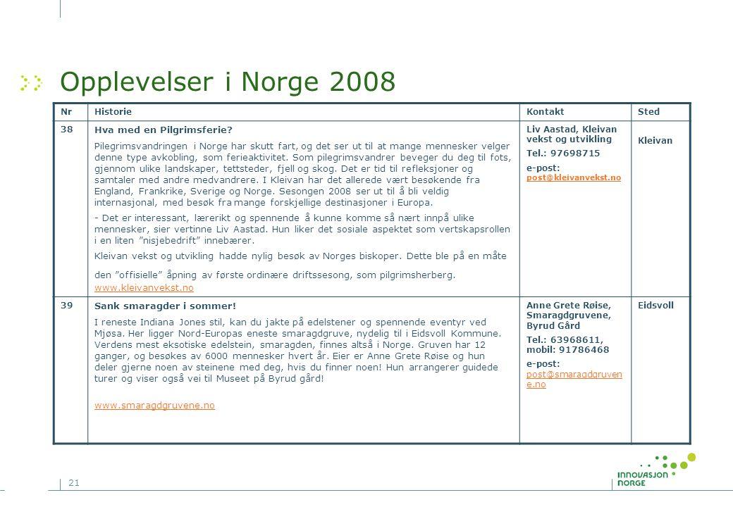 21 Opplevelser i Norge 2008 NrHistorieKontaktSted 38 Hva med en Pilgrimsferie? Pilegrimsvandringen i Norge har skutt fart, og det ser ut til at mange