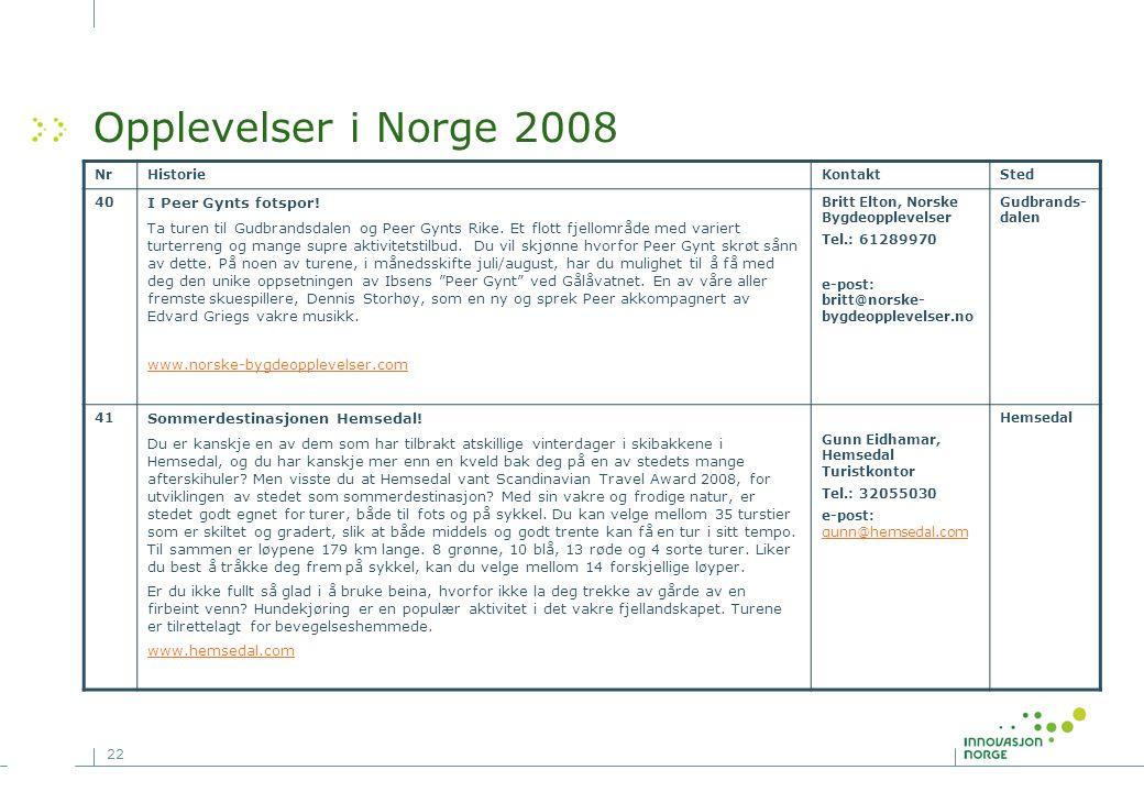 22 Opplevelser i Norge 2008 NrHistorieKontaktSted 40 I Peer Gynts fotspor! Ta turen til Gudbrandsdalen og Peer Gynts Rike. Et flott fjellområde med va